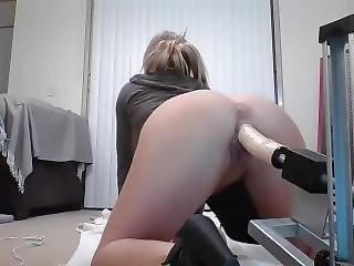Girl Rides Monster Lubed Dildo Machine