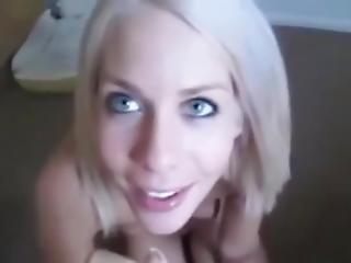 Pretty Blue Eyed Wife Earns Facial Batting Eyelashes