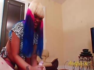 Adorable Ebony Babe Strokes White Cock