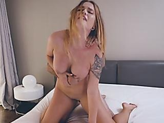 Busty Beauty Has A Hot Set Of Nipple Piercings And A Fat Pussy