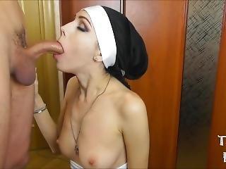 amatør, stor cock, blowjob, brunette, par, krem, creampie, tissemand, handjob, nånne, oral, pov, sexet, små bryster