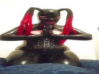 Rubberdoll Cumming To Master's Orders While He's At Work