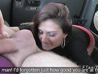 Bad Brunette Gives Rimjob In A Cab