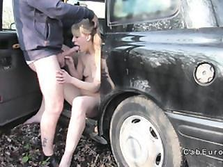 Deep Throat Blonde Babe In Fake Taxi