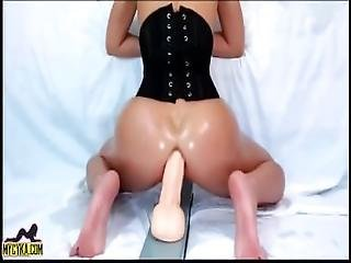 Teen Rides Huge Dildo Squirts Continue On Mycyka Com