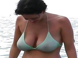Milf Big Natural Tit On The Beach