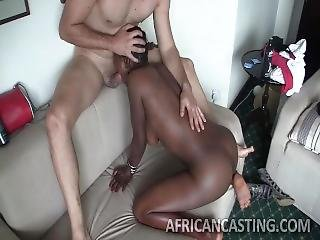 africano, amateur, ano, fundición, ébano, interracial
