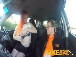 Fake Driving School Tattooed Redhead Craves Instructors Big Cock And Cum