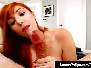 Horny Redhead Lauren Phillips Spits & Sucks On A Hard Dick!