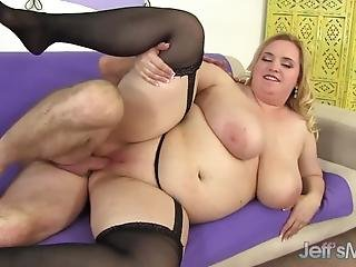 Gorgeous Blonde Bbw Nikky Wilder Gets Her Big Jugs Oiled Up And Pussy Boned