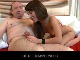 Punchy Old Man Gets Fucked By A Real Young Girl