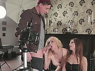 Sexy Babes Lullu Gun And Melanie Gold Take Turns Pleasuring One Cock