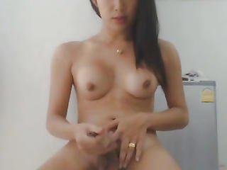 Nice-looking Shemale Masturbate Her Hard Schlong