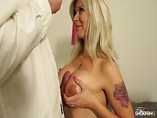 Busty Tattoo Horny Slave Blonde Love When Fake Agent Fuck Her Pussy