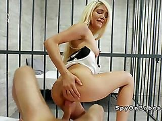 Nasty Blonde In Jail Bangs Guard In Uniform
