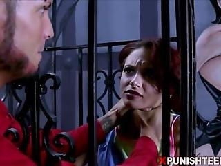 Redhead Teen Is Instructed To Suck Cock Through Metal Bars Then Even Spread Her Pussy Open Within Them So She Could Be Penetrated Through A Cage