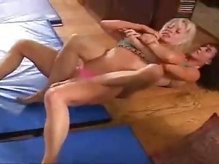 Blonde Vs Brunette Wrestling
