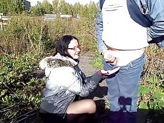 Blowjob In Autumn Day