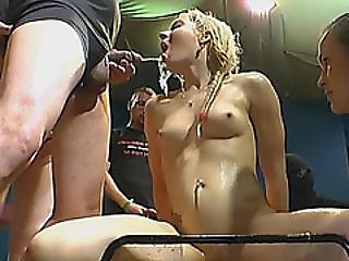 European Chicks Get Piss In Mouths And Ride Cocks
