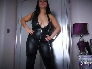 Sexy Brunette Catsuit And Suede Boots Joi