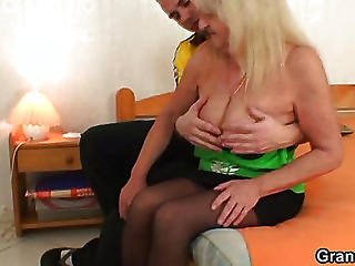 Sex Starved Stockings Granny Fucked