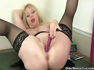 British, Masturbation, Mature, Milf, Mom, Mother, Nylon, Solo, Stocking