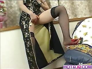 Amateur, Asian, Dress, Fingering, Japanese, Masturbation, Milf, Natural, Panties, Stocking