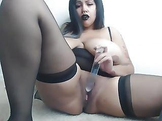 Indian Emo Gothic Chick Playing For Cam