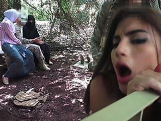 Amazing Threesome In Military Jungle Camp