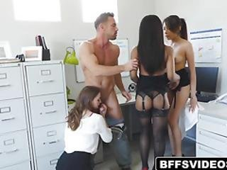Girls Worshipping And Sharing Their Boss Load Of Cum