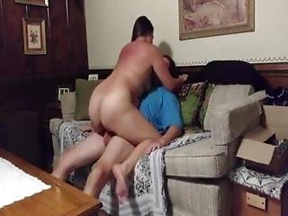 Horny Big-assed Milf Fucking On Mom's Couch While Housesitti