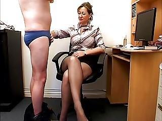 Handjob While Sniffing Nylon Feet 23a