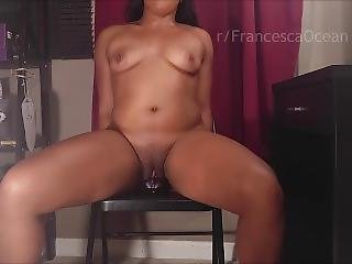 Fucking My Big Suction Cup Dildo On Chair