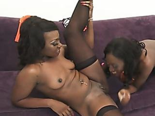 Sensual Lesbian Sex With Two Ebony Babes