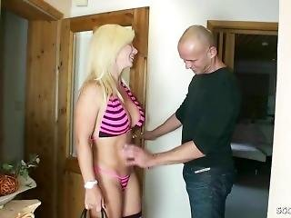 German Milf Nadja Help Guy With Hand And Blowjob To Cum