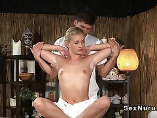 Euro Blonde Beauty Getting Massage And Fuck