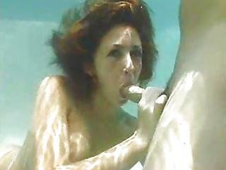 BJ by a gorgeous redhead under water!