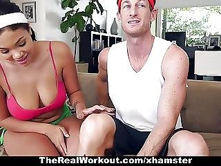 Big Boob, Black, Boob, Busty, Cumshot, Ebony, Fitness, Fucking, Hardcore, Interracial, Trainer, Workout, Workplace