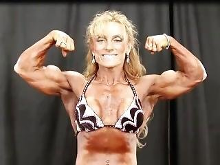 Female Bodybuilder Flexes Backstage - Lisa J.