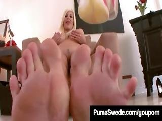 Swedish Blonde Puma Swede Teases Barefoot With Stockings