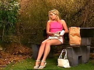 Young Blondie With Long Beautiful Legs In Action