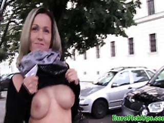Euro Beauty Sucks And Tugs For A Mouthful