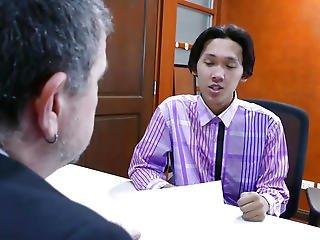 Oriental Twink Cocksucking Office Dad