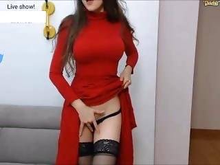 Sensual Perfect Girl In Stunning Red Dress Cums Wildly On Chaturbate