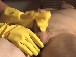 Yellow Rubber Gloves Blowjob