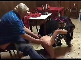 Girl Fucks Old Man In Pub