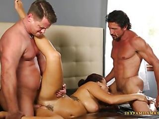 Two Experienced Fuckers Bang A Busty Gal