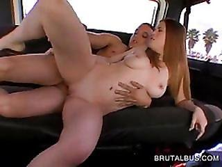 Busty Redhead Gets Wet Slit Drilled In The Bus