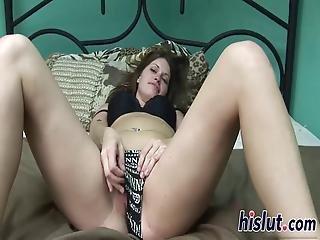 Cute Brunette Minx Rubs Her Orgasmic Beaver