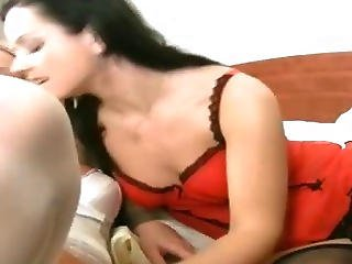 Hot Lesbian Action With Big Black Strapon Dildo